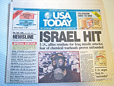 Newspaper: 1991 Usa Today January 18-19-20 Israel Hit