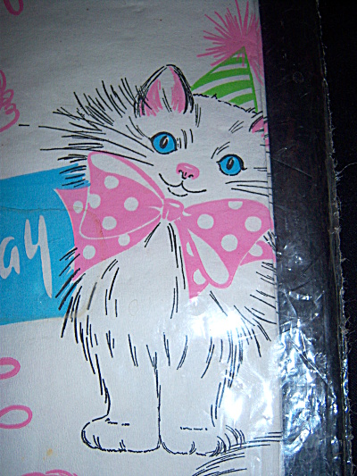 Vintage 1960s Crepe Paper Tablecloth w/ KITTENS Happy B (Image1)