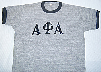 Vintage 1970's ALPHA PHI ALPHA Ringer Tee T-Shirt Gray  (Image1)