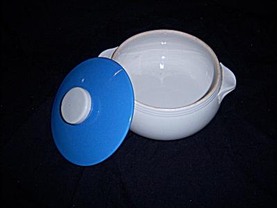 Vintage Delphinium Blue / Light Gray Stoneware Casserol (Image1)