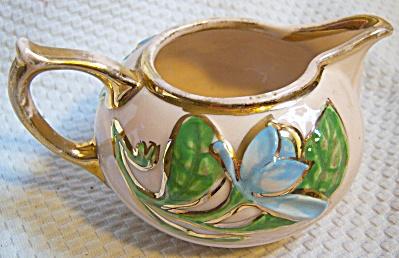 Vintage Hull Magnolia Creamer H-21 Gold Trim ~ Blue Mag (Image1)