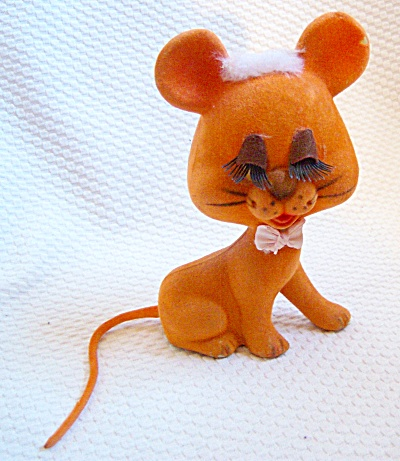 Vintage Orange Flocked Girly Cat Figure Stuffed Animal