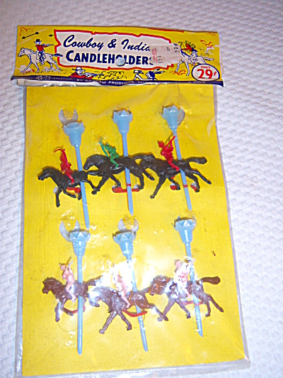 Vintage 1960's GAY GEM ~ COWBOYS INDIANS on  HORSES  (Image1)