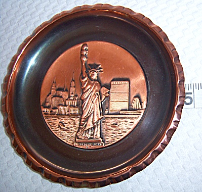 Vintage Copper - Statue Of Liberty N.y. Wall Plaque