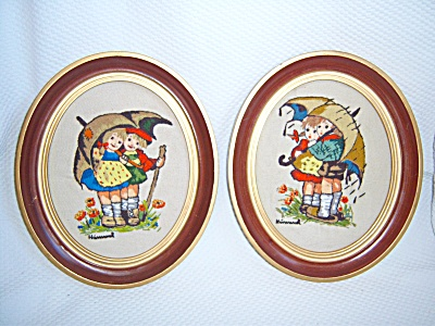 Vintage HUMMEL LOT NEEDLEPOINT CREWEL EMBROIDERED FRAME (Image1)