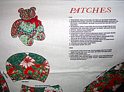 Springs CHRISTMAS Teddy Bear ~ Patches ~  Craft FABRIC  (Image1)