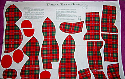 Wamsutta CHRISTMAS Teddy Bear ~ Tartan Plaid ~  Craft F (Image1)