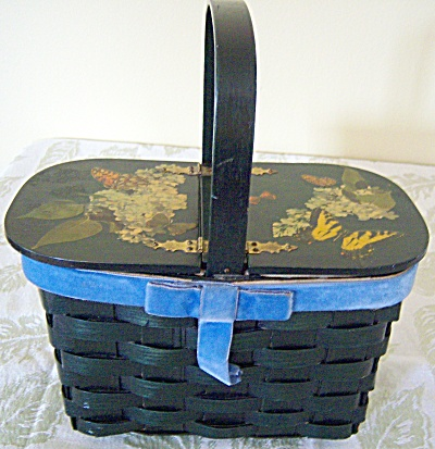 Vintage Signed Wood / Wooden Box Basket Purse Butterfly