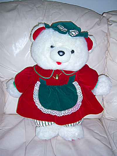 1992 K MART CHRISTMAS SANTA BEAR GIRL FAMILY STUFFED AN (Image1)
