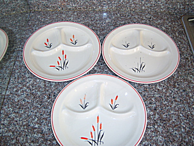 Lot 3 VINTAGE UNIVERSAL POTTERIES CATTAIL Grill  (Image1)