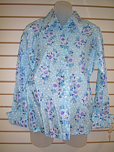 Vintage MONTGOMERY WARDS Womens Polyester Blue SHIRT  (Image1)