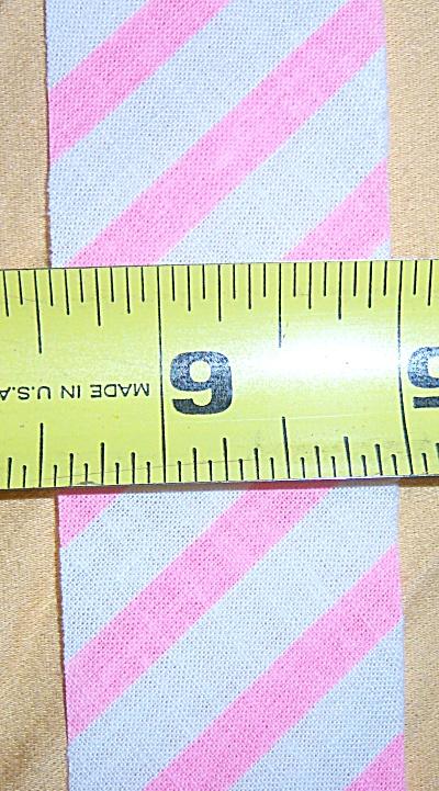 Vintage New Unfolded Bias Pink / White Trim Striped 10Y (Image1)