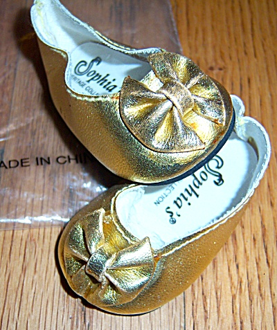New Gold Metallic Party Doll Shoes 2 3/4 Large Doll