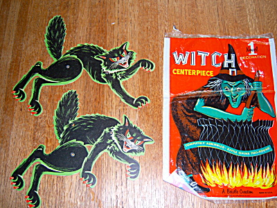 TWO Vtg Halloween BEISTLE Die Cut Paper Black Cat Arch (Image1)