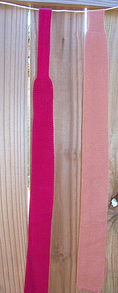 Lot Of 2 Vintage Square Bottom Knit Neck Tie - Mauve