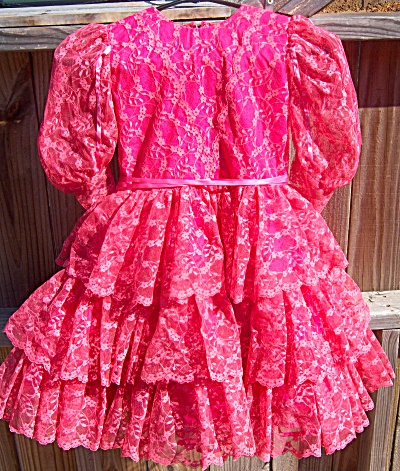 Handmade Pink Bright Lace Party / Pageant Dress