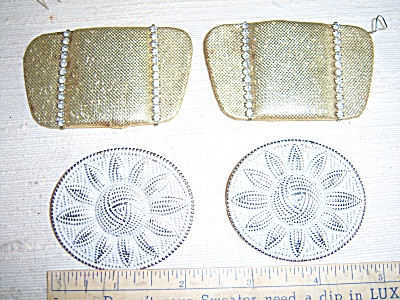 Vintage Rhinestone Gold Fabric - Metal Sun Shoe Clips L