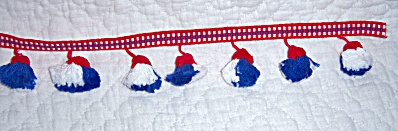Vintage Red White Blue Tassel Pompom 2 1/4 in Patriotic (Image1)