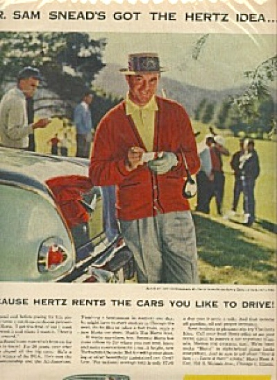 1952 Sam Snead GOLF Golfing Hertz AD (Image1)