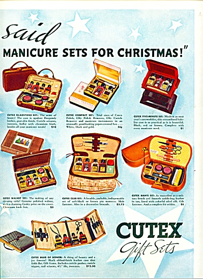 1937 CUTEX GIFT SETS AD Manicure Polish ++ Se (Image1)