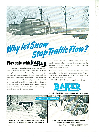1948 Baker Snow Plows Allis Chalmers Ad