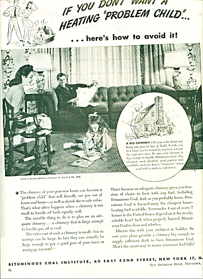 1944 BITUMINOUS Coal PROBLEM CHILD AD Vintage (Image1)