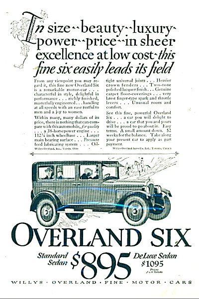 1925 OVERLAND Six CAR PROMO AD WILLYS (Image1)