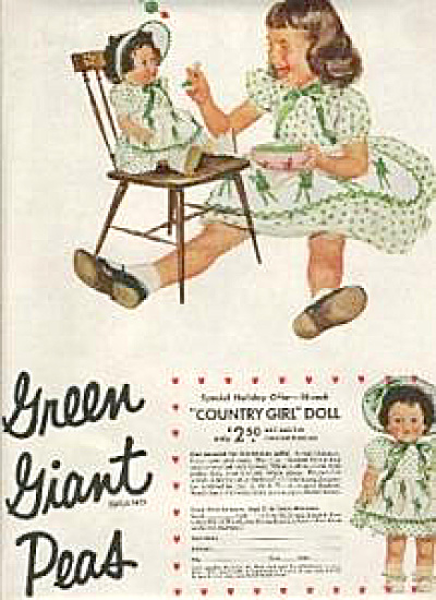 1955 Green Giant COUNTRY GIRL DOLL AD (Image1)