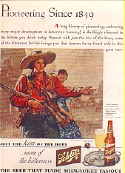 1943 Benton Clark pioneer art Schlitz Beer AD (Image1)