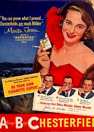 1950 Marta Toren Chesterfield Cigarette Ad (Image1)
