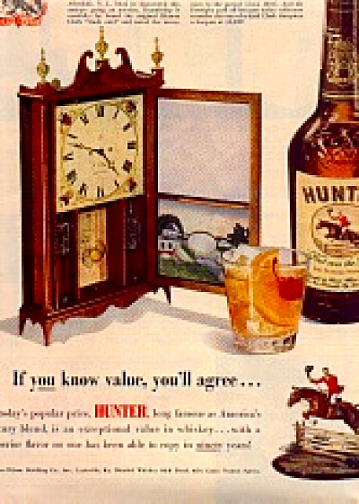 1950 Frank Beaven AntiqueClock Hunter Whiskey (Image1)