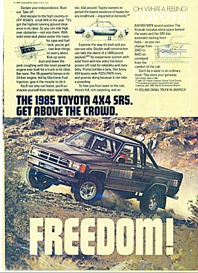 Toyota 1985 4 x 4 SR5 ad OFF ROAD Freedom AD (Image1)