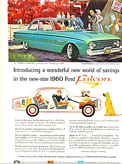 1960 Ford Falcon Car Promo AD GREAT ART (Image1)