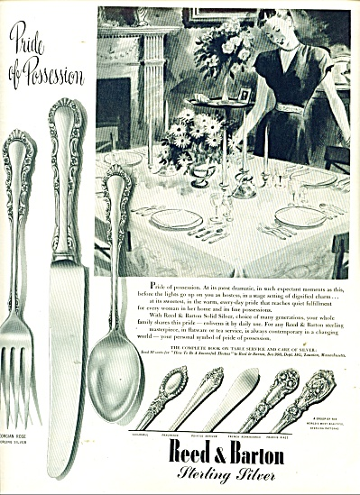 1946 REED & BARTON Sterling Ad -Georgian Rose (Image1)