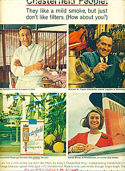 1966 Chesterfield Cigarettes Print AD Ordinary People (Image1)