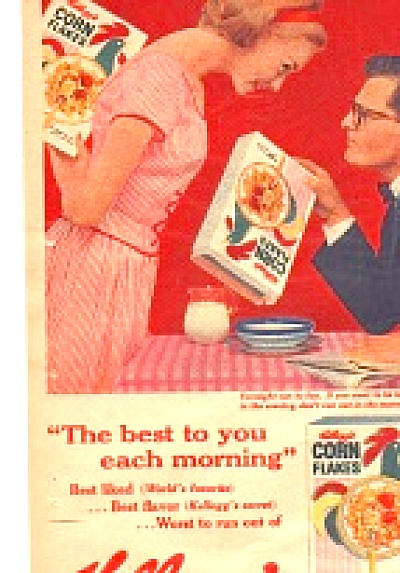 1959 Kellogg's Corn Flakes Cute Man Ad