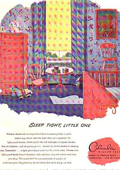 1946 Sleep Tight Little One Pink Child's Room