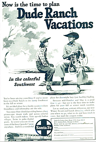 1949 Dude Ranch Vacations - Santa Fe RAILROAD ad (Image1)