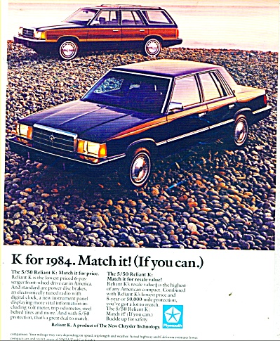 1984 Plymouth RELIANT K Car AD (Image1)
