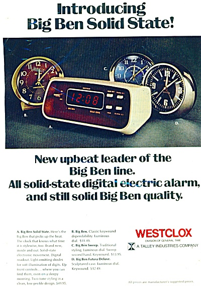 1974 Westclox Electric Alarm Clock Ad Big Ben