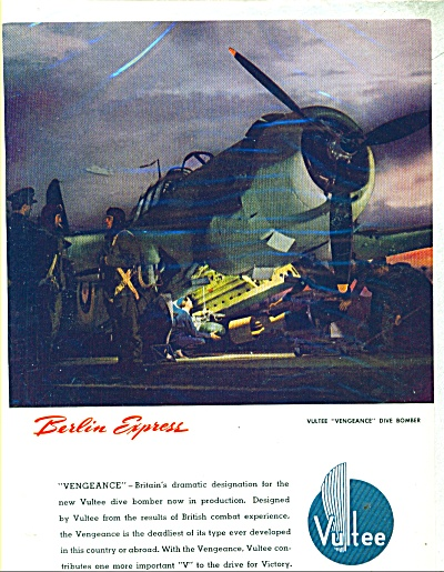 1941 Vultee Dive Bomber Wwii Aircraft Ad