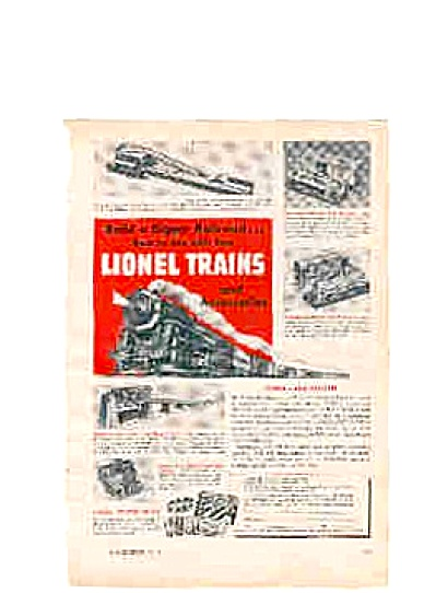 1951 Lionel Trains Railroad Ad