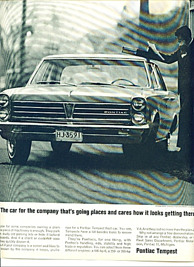 1966 PONTIAC TEMPEST CAR AD 3 Engines (Image1)