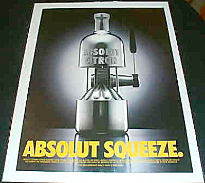 Absolut Squeeze Cool Squasher Ad Citron 1995