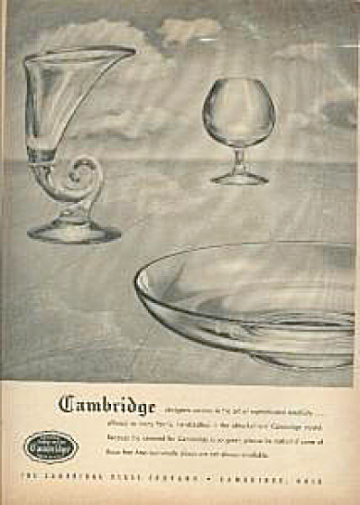Wartime 1946 Cambridge Glass Crystal Ad
