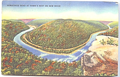 Horseshoe Bend NEW RIVER W VA postcard (Image1)