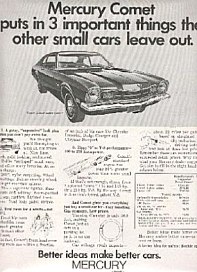 1970 Mercury Comet Car AD $2217 WOW (Image1)