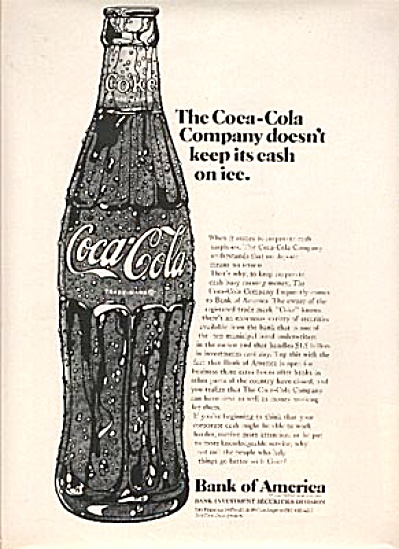 1969 Coca Cola Bank Of America Trade Ad