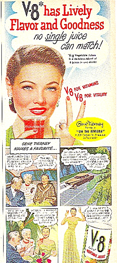 1951 GENE TIERNEY - Actress V-8 COCKTAIL AD (Image1)