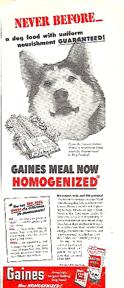 1952 GAINES MEAL DOG FOOD AD (Image1)